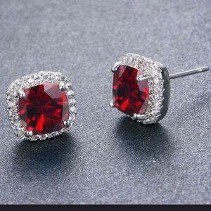 Jewelry - 925 Princess Cut Red Ruby CZ Studs🔥❤️🎁